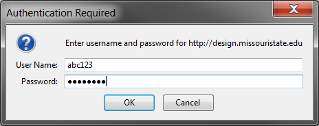 Screenshot of prompt to enter credentials